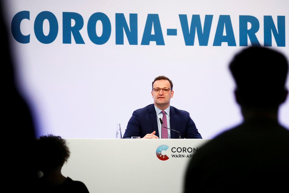 Bundesgesundheitsminister Jens Spahn (CDU) bei der Präsentation der Corona-Warn-App.