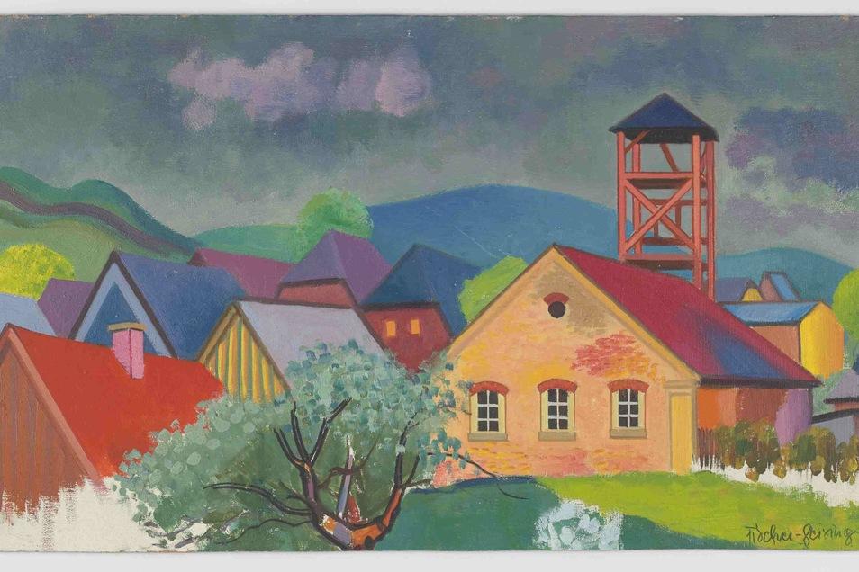 Das Feuerwehrhaus, um 1940, Öl auf Hartfaser, 37,5 x 64 cm.