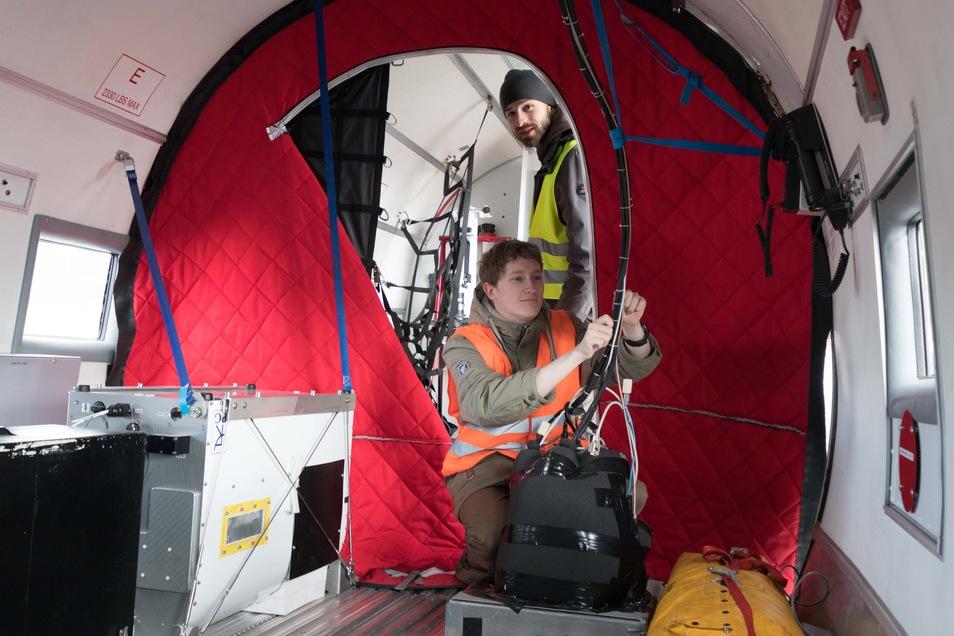 Im Innern des Polarflugzeugs.