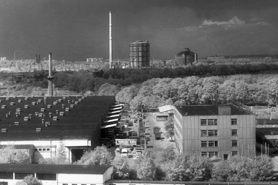 Diese Aussicht bot sich vom Dobritzer NAGEMA-Hochhaus zum Reicker Industriegebiet 1985. Den Schornstein gibt es mittlerweile nicht mehr.
