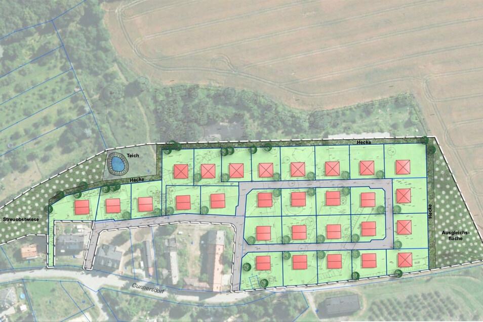 Geplantes Wohngebiet in Pirna-Cunnersdorf: Platz für fast 30 Eigenheime.