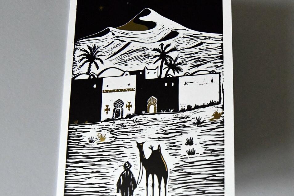 """Der Druck wurde von einem Tuareg entworfen. Moussa Mbarek kam als Flüchtling nach Dresden und arbeitet in einer Kunstgießerei. Das Motiv """"Der Gast"""" ist jetzt auf einer Klappkarte erhältlich."""