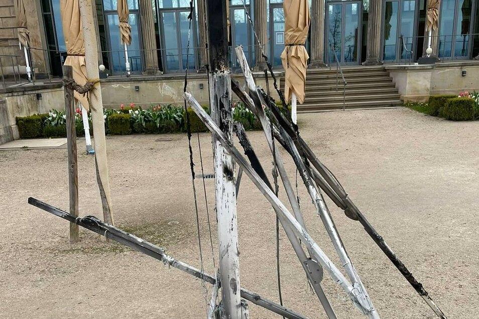 Zerstörung auf dem Gelände des Lingnerschlosses.