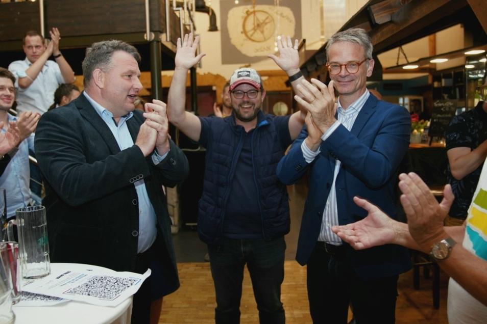 Lars Rohwer und Markus Reichel sind die Gewinner des Wahlabends - sie holen die Direktmandate der beiden Dresdner Wahlkreise.