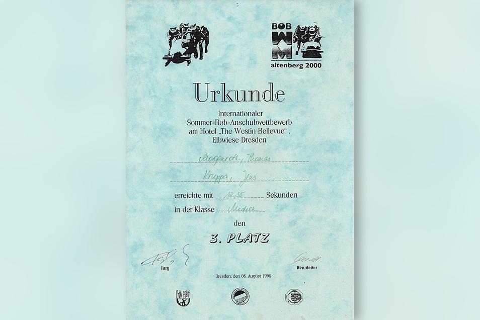 Die Urkunde für den dritten Platz beim Bobanschub.