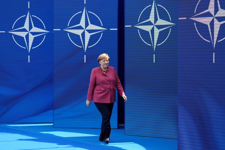 Bundeskanzlerin Angela Merkel im Nato-Hauptquartier.