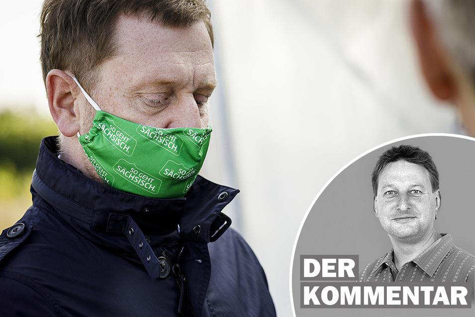 Michael Kretschmer, Ministerpräsident von Sachsen, beim Spatenstich der Skan-Erweiterung am Dienstag in Hagenwerder.