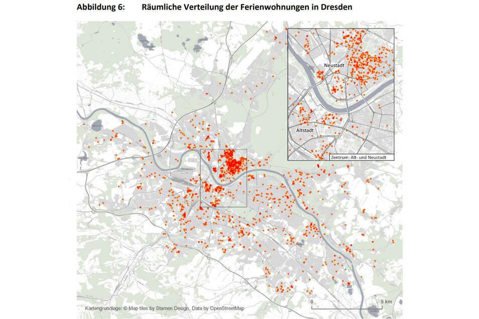Komplett angebotene Wohnungen in Dresden am 27. Januar 2020 (1.287) auf Datengrundlage von AirDNA MarketMinder.