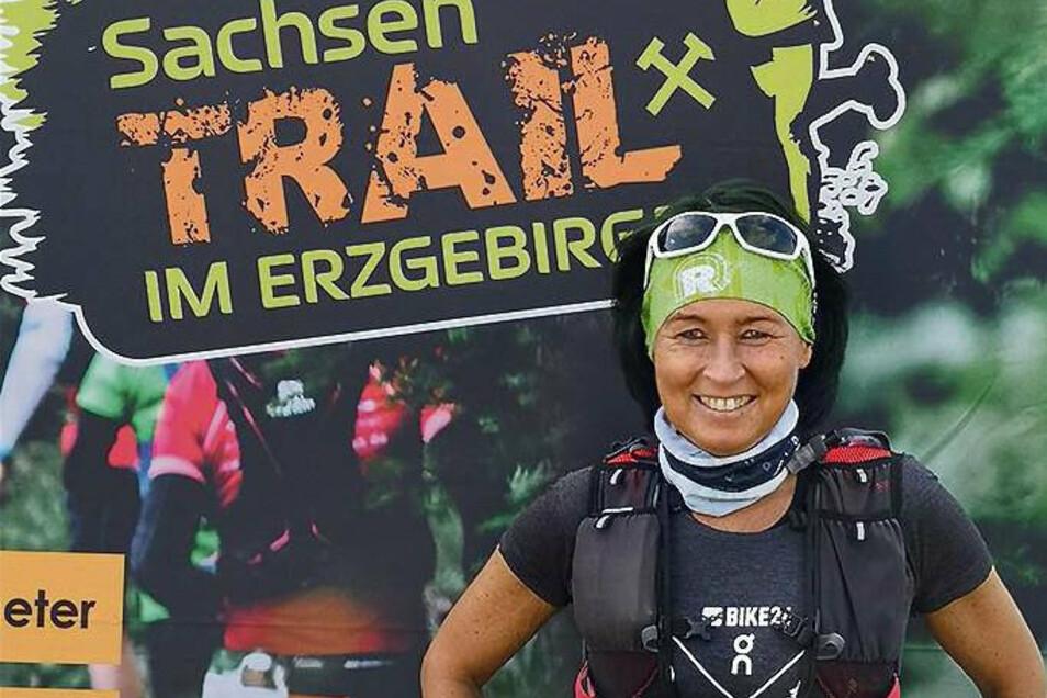 Kerstin Wonde aus Krauschwitz beim Sachsen-Trail 2020: Er war einer der ersten richtigen Läufe nach Corona.