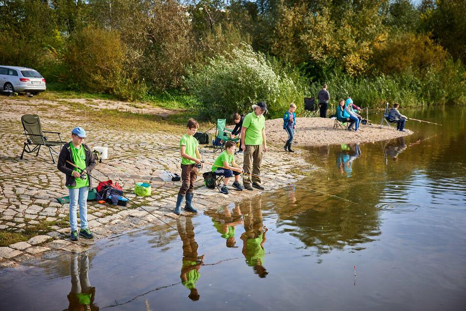 """""""Raus aus dem Kinderzimmer, rein in die Natur."""" Die Jugend des Angelvereins Stadt Pirna auf Fischzug an der Elbe."""