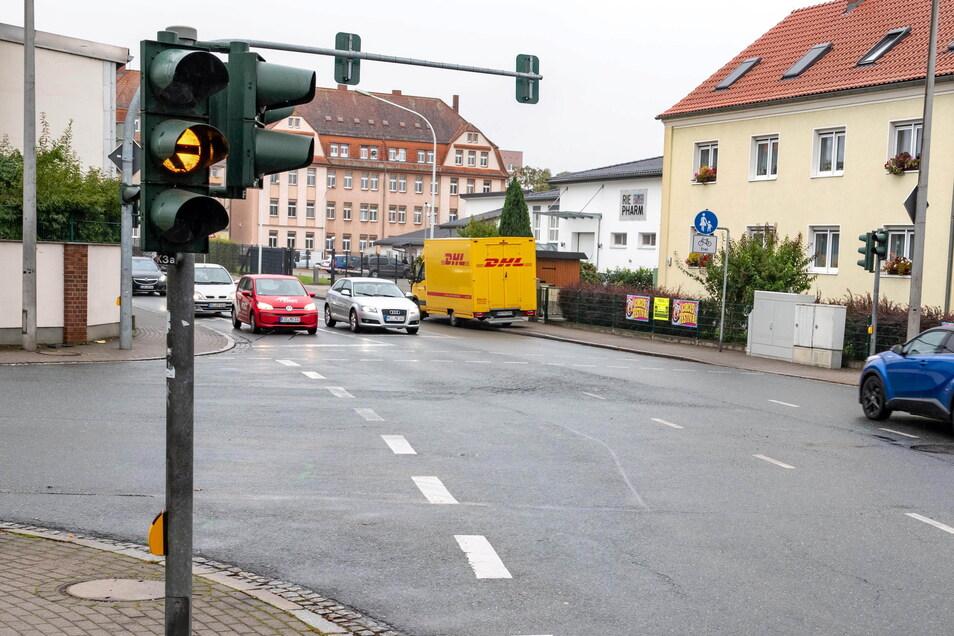 Geht jetzt wieder - die Ampelanlage an der Riesaer Kreuzung Klötzerstraße/Liststraße/Kochstraße.
