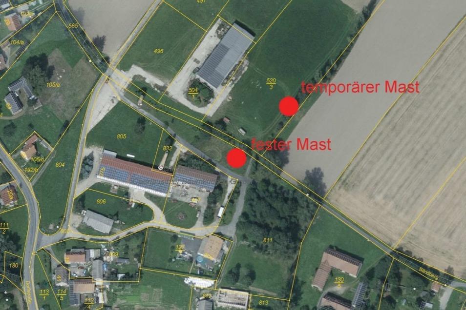 In unmittelbarer Nähe zur Schlegler Baumkuchenfirma (Gebäude Mitte) soll der Masten errichtet werden.