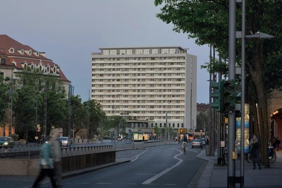 So soll das Hochhaus am Pirnaischen Platz nach dem geplanten Umbau durch die Heftol Group aussehen, wie sie es auf ihrer Internetseite zeigt.