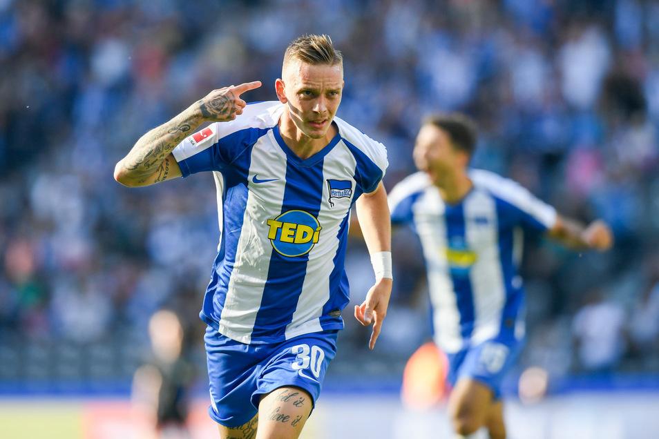 Erlösung: Marius Wolf bejubelt seinen Treffer zum 2:1 für Hertha BSC Berlin gegen den Aufsteiger SC Paderborn. Es war das siegbringende Tor für die Berliner, die zum ersten Mal in dieser Saison drei Punkte holten.