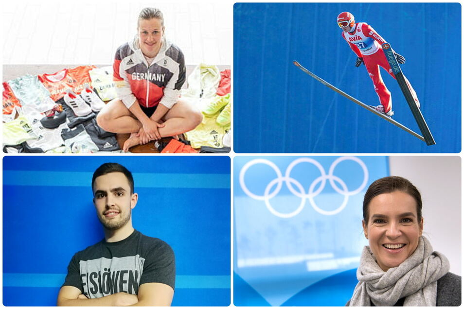 Die Protagonisten des Sportfreitags aus sächsischer Sicht: Wasserspringerin Tina Punzel, Skispringen in Klingenthal, Olympiasiegerin Katarina Witt und Neu-Eislöwe Philipp Kuhnekath.
