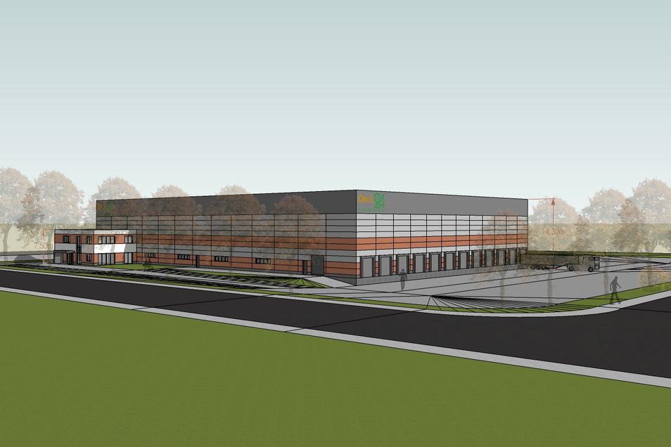 So wird der Neubau von Ondis24 in Reichstädt aussehen, wenn er fertig ist. Auf einer Fläche von 5.000 Quadratmetern wird ein automatisiertes Hochregallager eingerichtet.