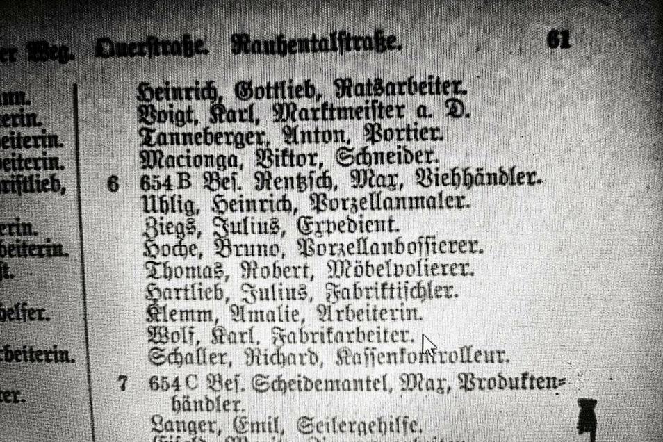 Die neun Namen der ersten Bewohner in der Rauhentalstraße 6.