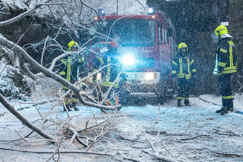 Die Feuerwehr räumt nach Schneebruch Äste von einer Straße in Annaberg-Buchholz.