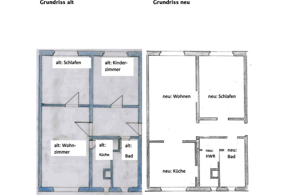 """Die Küche und das Bad sind in der neuen Raumaufteilung auf der Walter-Richter-Straße 2 deutlich größer bemessen. """"HWR"""" steht für Hauswirtschaftraum."""