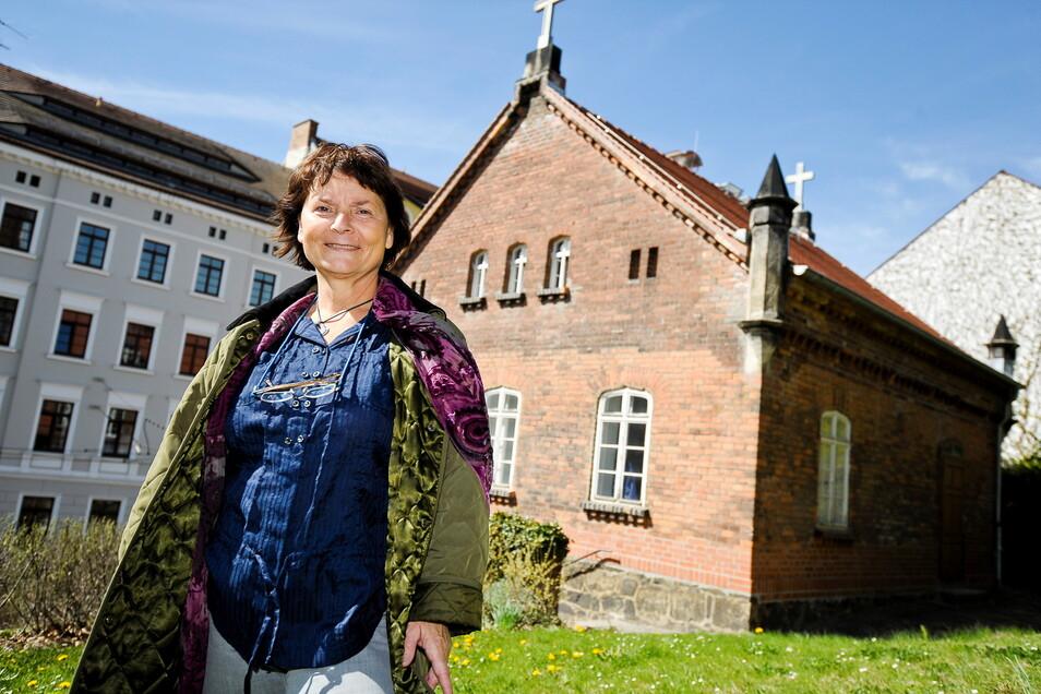 Margrit Kempgen von der Evangelischen Kulturstiftung freut sich, dass das Kustoshaus am Heiligen Grab saniert werden konnte.