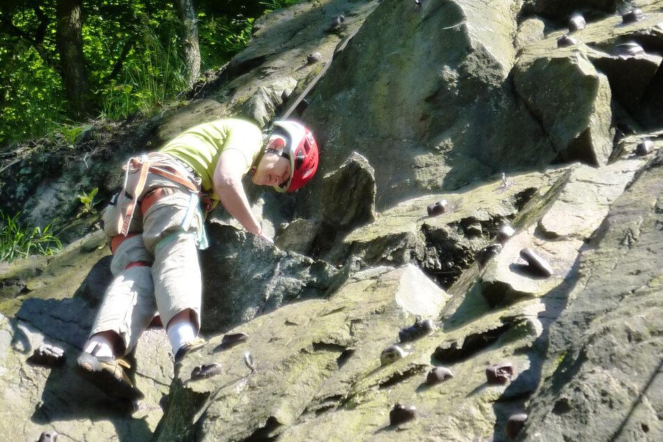 Jahrelang kletterte Beate Lange mehrmals in der Woche an der Felswand.