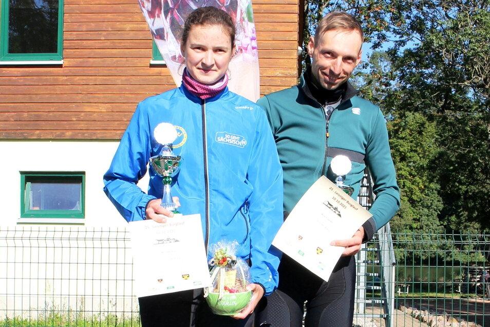 Marlene Riedl (Leipzig) und Maik Eisleben (SG Adelsberg) holten sich jeweils den Gesamtsieg über 12 Kilometer,