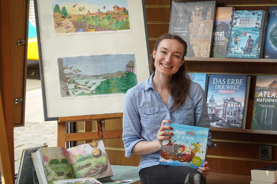"""Die Bautzener Illustratorin Melanie Gürtler gehört zu den Beteiligten des Steinhaus-Projekts """"Provinzliebe"""". Ihre Arbeiten sind in der Buchhandlung Kretschmar zu sehen."""