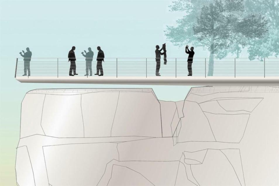Ein 20 Meter langer und bis zu 3,5 Meter breiter Steg soll frei schwebend über dem Gestein errichtet werden.