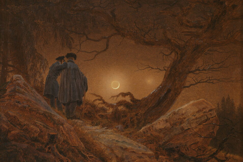 """Caspar David Friedrich malte """"Zwei Männer in Betrachtung des Mondes"""" 1819/20 ."""