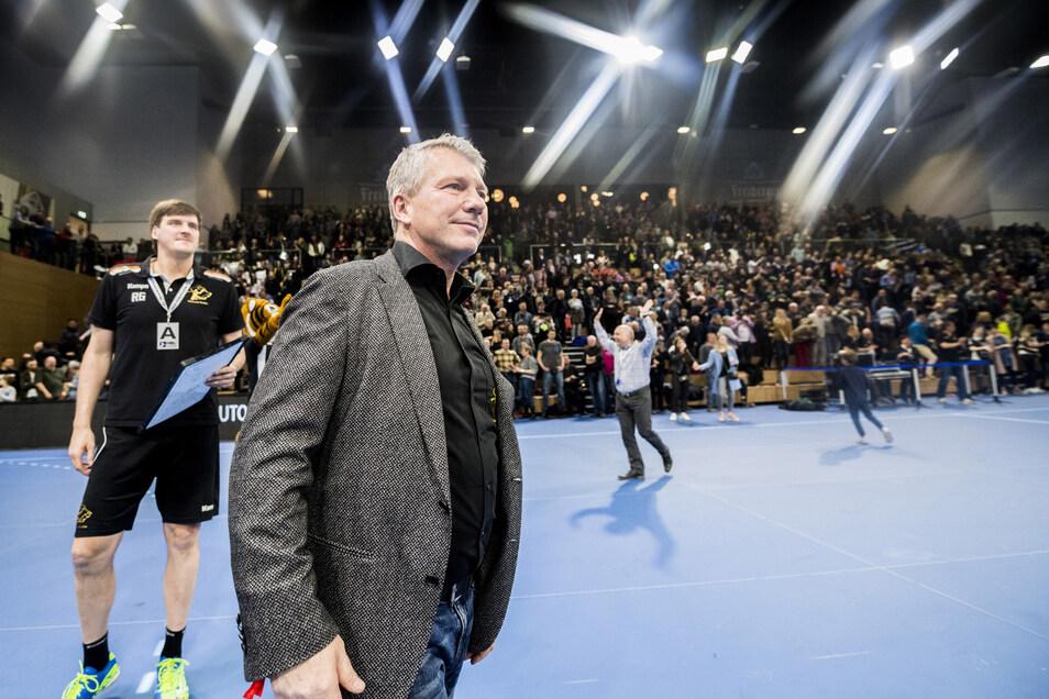 Trainer Rico Göde (links) und Präsident Uwe Saegeling haben noch einiges vor mit dem HC Elbflorenz.