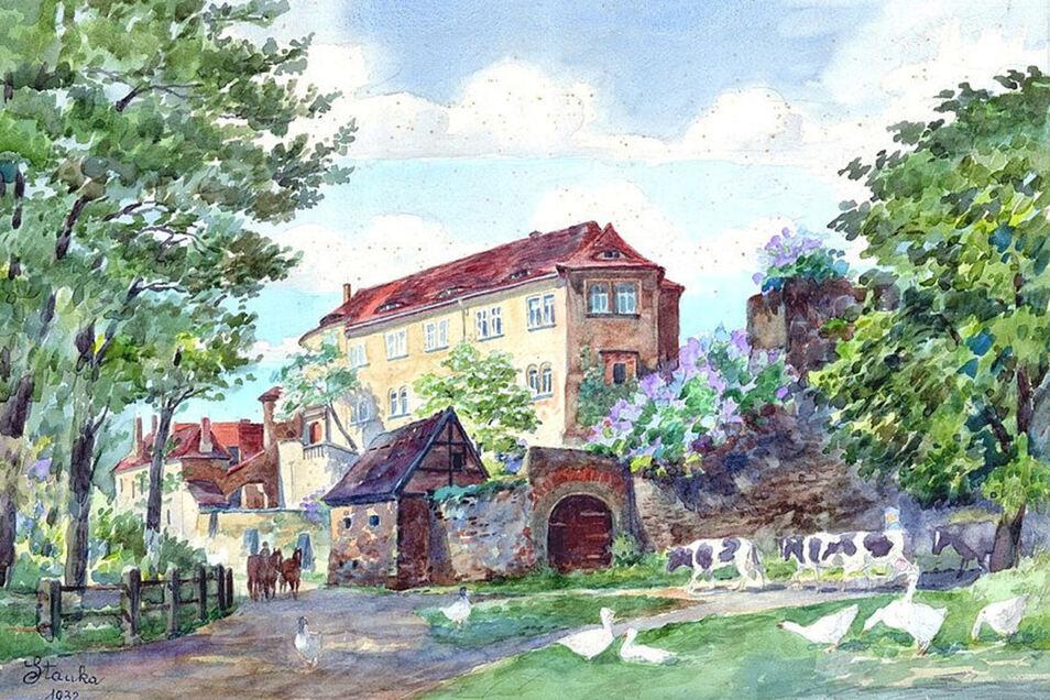 Die Ansicht von Schloss Klippenstein hat Karl Stanka 1932 gemalt. Das Bild zeigt das Gebäude aus Richtung Schlossmühle.