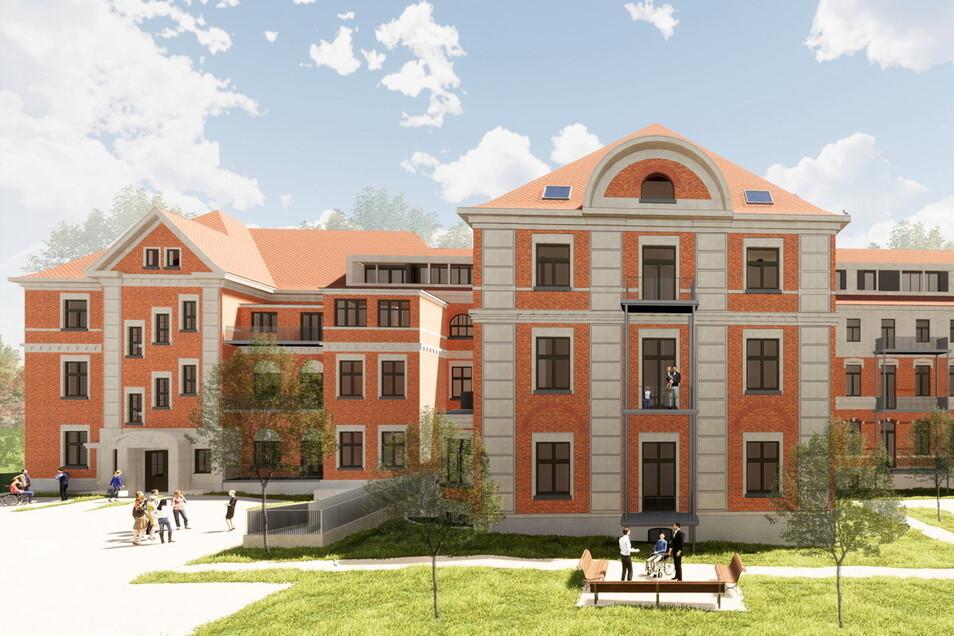 90 Wohnungen sollen in den Gebäuden des früheren Landkrankenhauses am Robert-Koch-Platz entstehen.