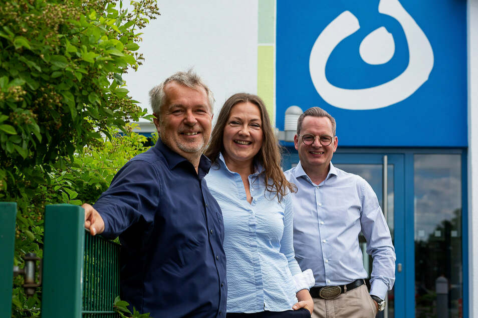 Schul-Initiatoren Norbert Bochynek und Annette Littau, Lebenshilfe-Vereinschef Ralf Thiele (v.l.): Eine Montessori-Schule wird Pirna bereichern.