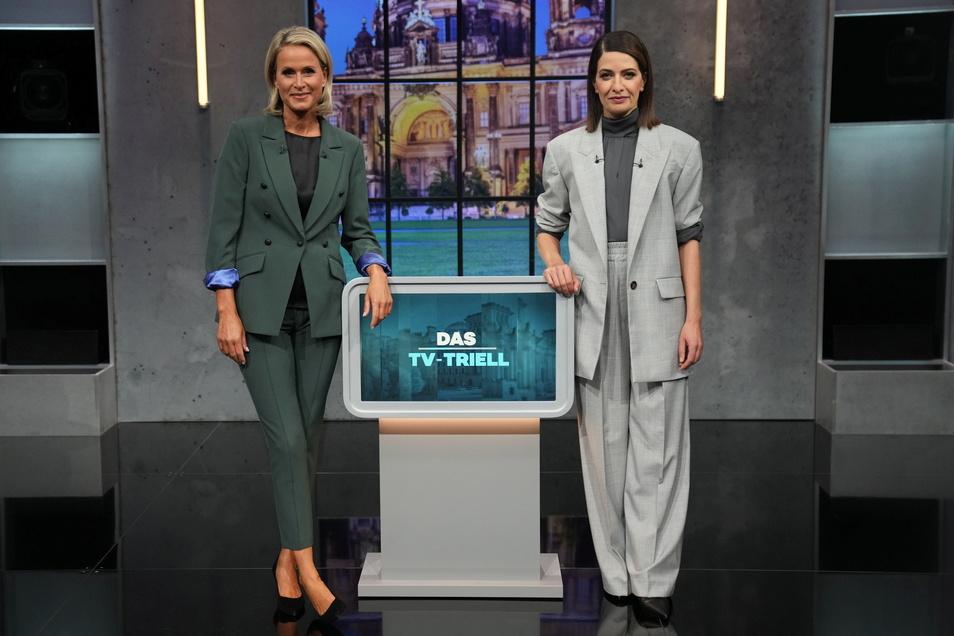 Linda Zervakis (r.) und Claudia von Brauchitsch moderierten das dritte TV-Triell.