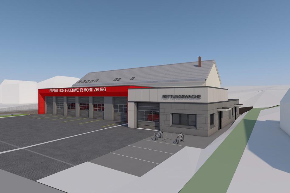 So soll der neue Gebäudekomplex aus Feuerwehrgerätehaus und Rettungswache am Standort der früheren Moritzburger Mittelschule in etwa aussehen.