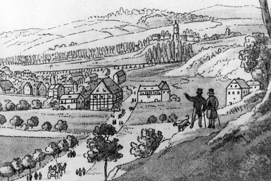 Blick von oberhalb Eisenhammer Richtung Döhlen. Das große Gebäude mit Fachwerk an der Straße im Tal beherbergt die Hagensche Glasfabrik.