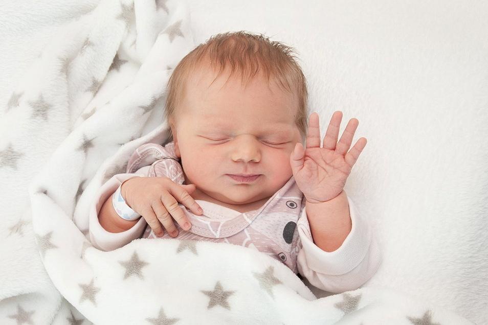 Lotte, geboren am 17. April, Geburtsort: Universitätsklinikum Dresden, Gewicht: 3.750 Gramm, Größe: 53 Zentimeter, Eltern: Stephanie und David Lützner, Wohnort: Großenhain