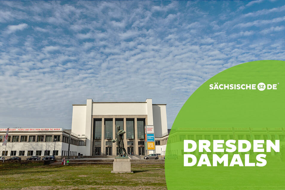 Monumentale Optik: Experten loben die kühle Schönheit des 1930 eröffneten Hygiene-Museums. Vorn die Plastik Ballwerfer Richard Daniel Fabricius.