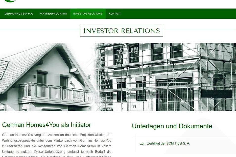 Die von Andreas L. geführte German Homes4You GmbH in Dresden wirbt im Internet um Investoren und Geschäftspartner.