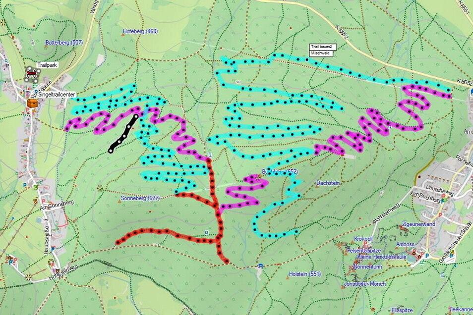 Auf dieser Karte ist schon mal skizziert, wo die Auf- und Ab-Strecken für den Mountainbike-Singletrail langführen könnten - ohne sich mit dem Naturschutz oder bestehenden Wanderwegen ins Gehege zu kommen.