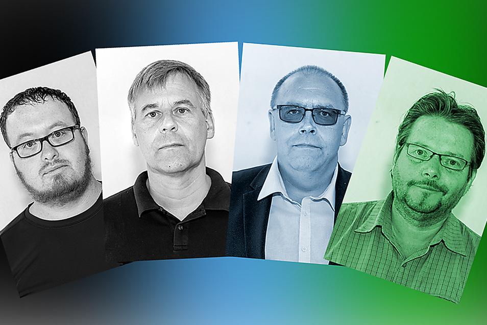 Philipp Gemser und Gerd Klaus Kreitz (CDU), Mike Herrmann (AfD) und Uwe Börner (Bündnis 90/Grüne, Aufzählung von links nach rechts) haben eine Fraktion gebildet.