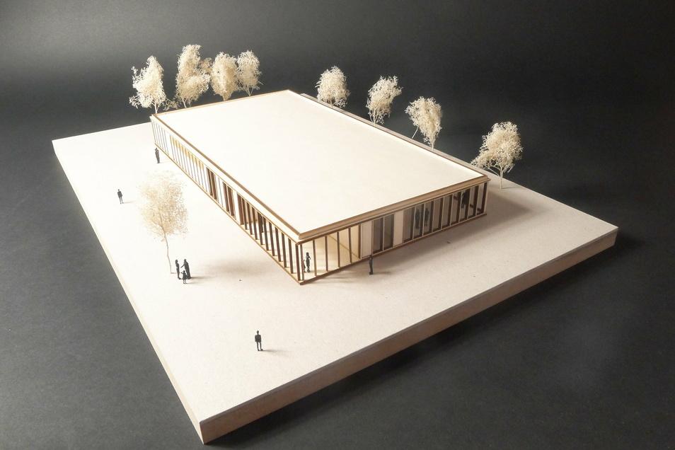 So sieht der Entwurf der Wülknitzer Kegelbahn als Holzmodell von außen aus.