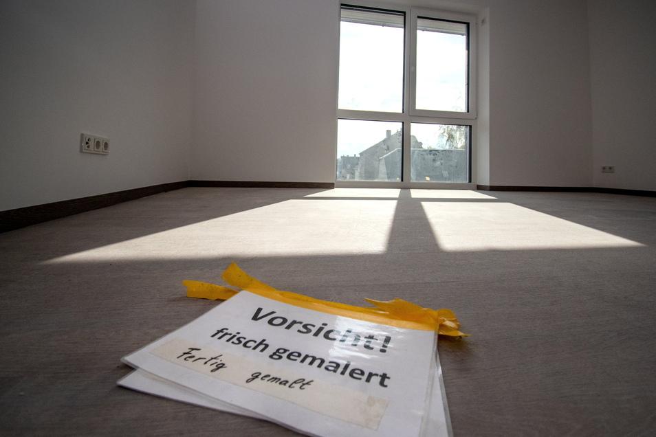 Die neuen Zimmer im vorderen Bereich sind hingegen fast einzugsbereit. Zuletzt wurden die Wände gestrichen.