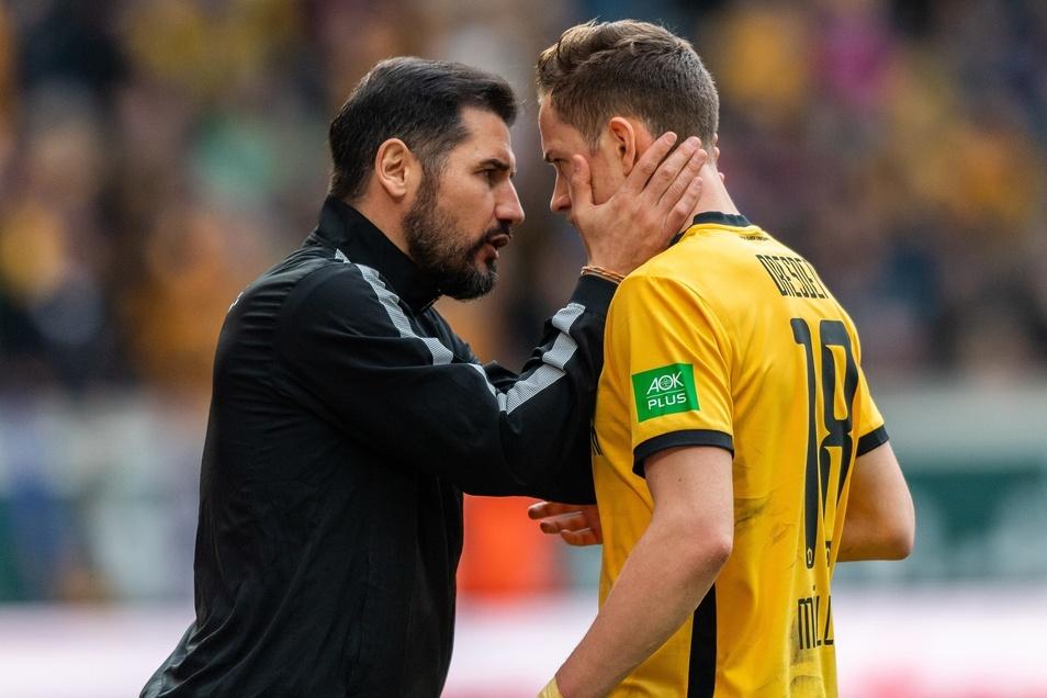Trainer Cristian Fiel (l.) hat mit Jannik Müller noch zusammengespielt.