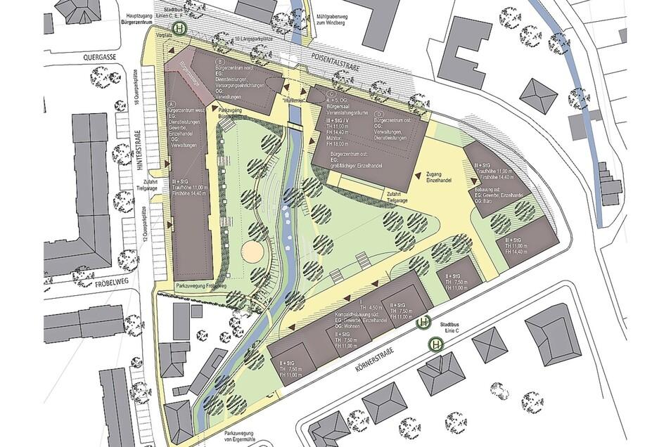 So sollen sich künftig die Gebäude auf der Lederfabrik-Fläche verteilen.