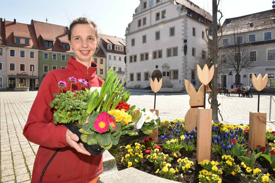 Stadtgärtnerin Sophie Handrick schmückt den Markt, den die Stadt mit Sanierungsgeldern neu gestaltet hat. Allerdings sind dabei vier Brunnen so gebaut worden, dass sie heute nicht mehr funktionieren. Sie dienen nun als Blumenkübel.