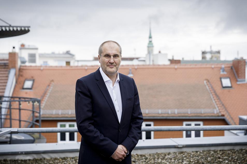 Jörg Mühlberg, Leiter Strukturentwicklungsgesellschaft des Freistaates Sachsen, auf der Terrasse des City-Centers in Görlitz.