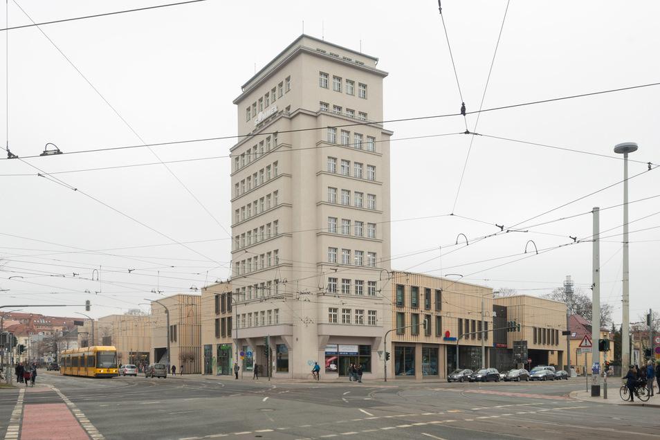 Das Simmel-Hochhaus am Albertplatz.