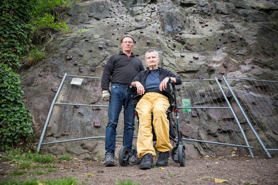 Beate Lange und Jost Hartmann kämpften vergeblich um ihre Kletterwand im Plauenschen Grund.