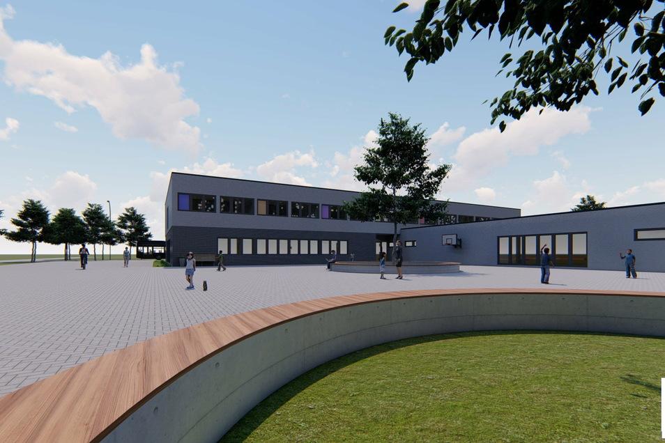 Das Freie Gymnasium Weinböhla - hier die Schulgebäude - wird auch über eine Drei-Feld-Sporthalle verfügen, die auch den Vereinen der Gemeinde offen stehen soll.
